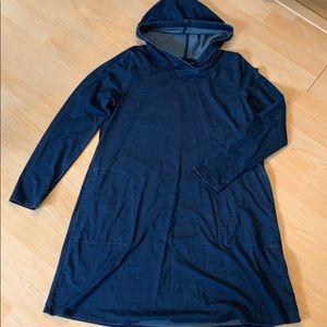Pure Jill indigo hooded dress